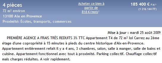 annonce appartement immobilier aix