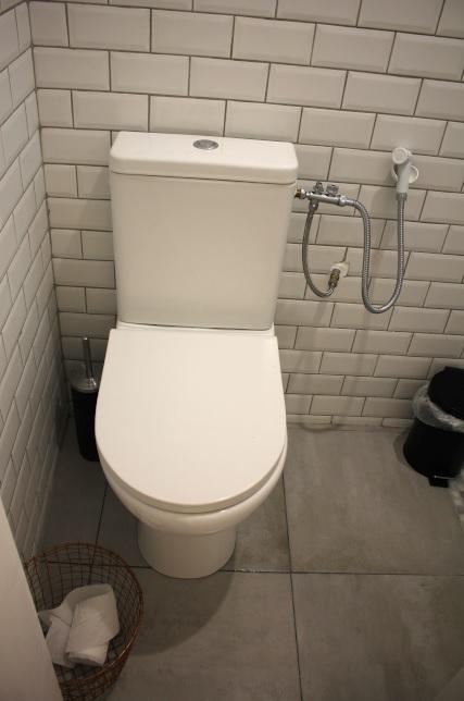 Le WC dans les toilettes de l'appartement rénové de Fadil à Toulon.