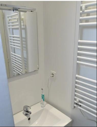 La salle de bain rénovée dans l'appartement que Fadil loue.