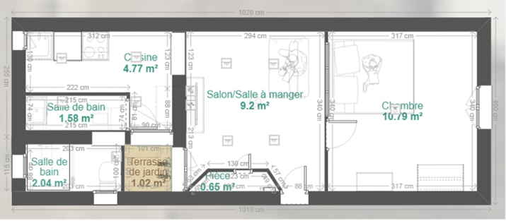 Plan de l'appartement dans lequel Fadil a investi à Toulon avec son épouse.