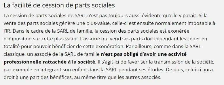La facilité de céder les parts sociales d'une SARL de famille