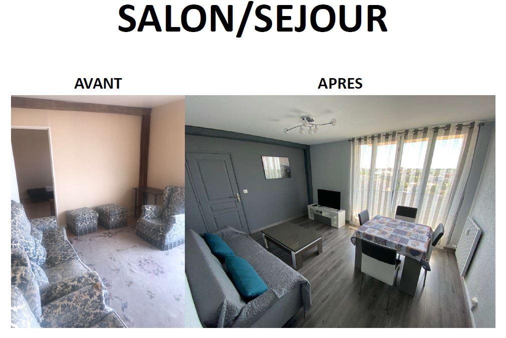 Le salon/séjour de la colocation de Laurent après rénovation.