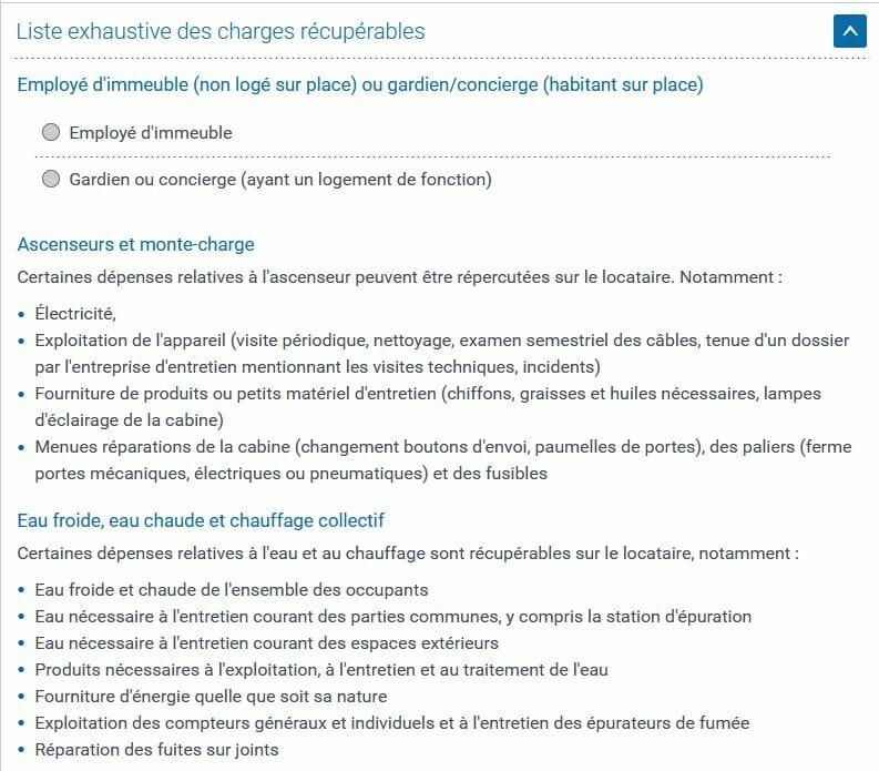 Liste officielle des charges refacturables au locataire