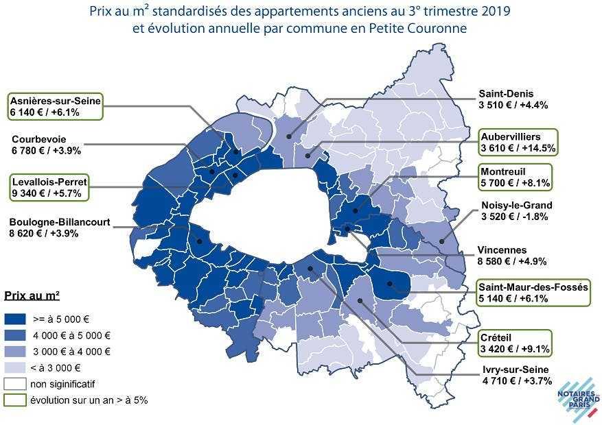 Carte des prix de l'immobilier à Paris petite couronne en 2019